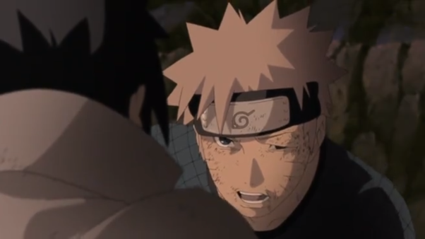 What episode of the anime does naruto and sasuke fight for