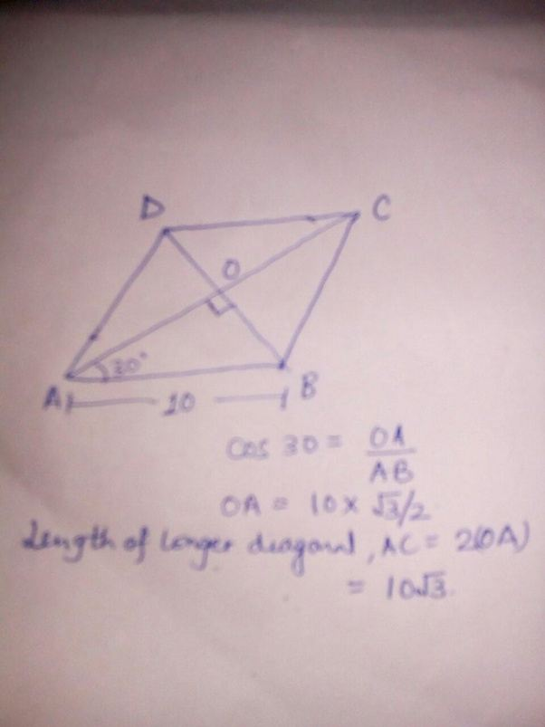 One angle of rhombus is given to be 60 degrees and its ...