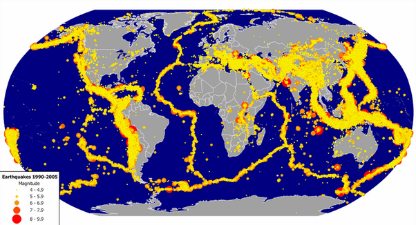 If our understanding of the inner earths topology is insufficient this is a map of magnitude of earthquakes it contains earthquakes from 1990 2005 from all over the world through this map it is very clearly visible gumiabroncs Gallery