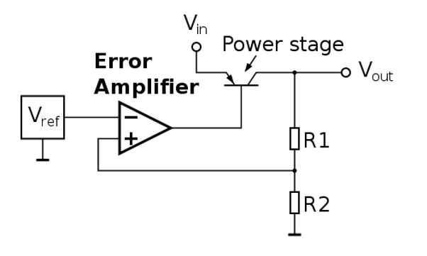 how to build the series pass voltage regulator circuit with feedback comparator using op