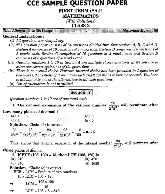 Can a mathematics class 10 cbse question paper be solved in 1 hour statistics geometry etc and middle two section consist logical and calculative part below is a just a image of sample question paper of maths malvernweather Gallery