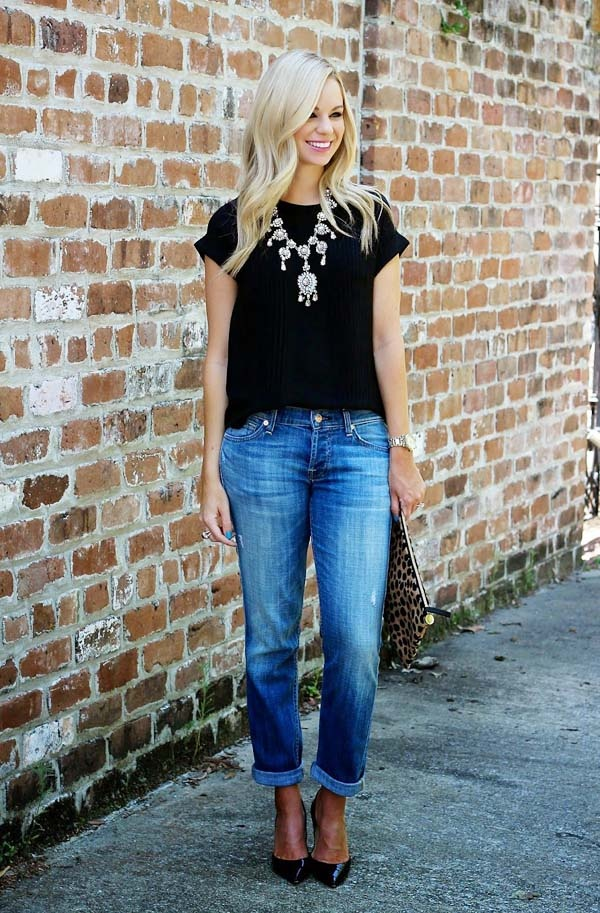 c600093bd1 Above: Here's another way to style this look. Wear a short sleeve black  shirt with silver jewelry—a silver tone wristwatch and in her case, ...