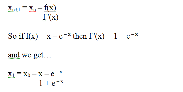 How to find the real root of the equation x=e^-x using the