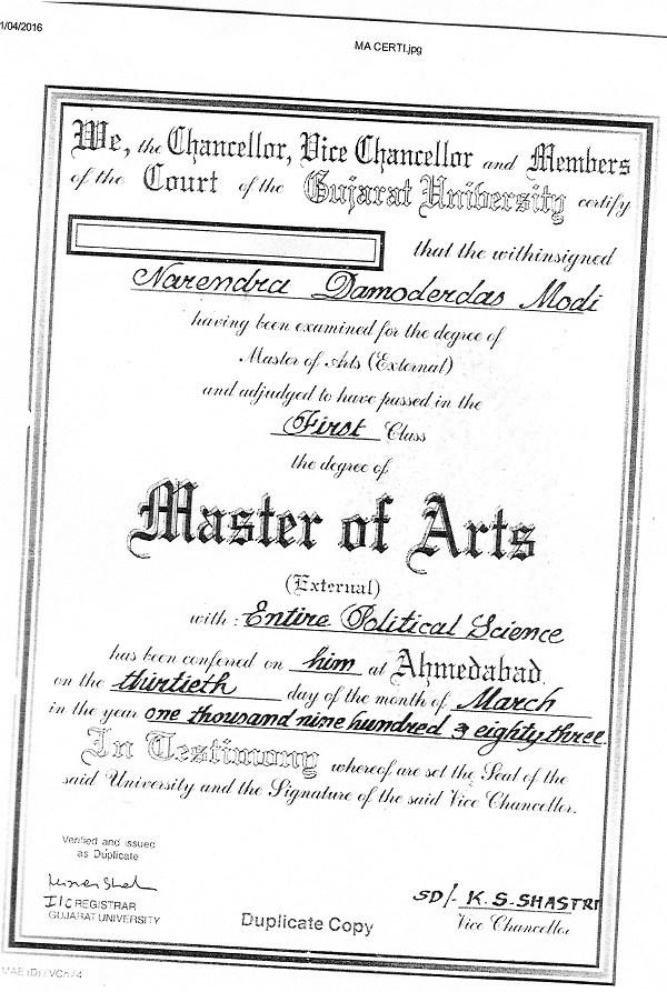 narendra modi resume