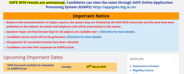 When will the GATE 2018 results be released? - Quora