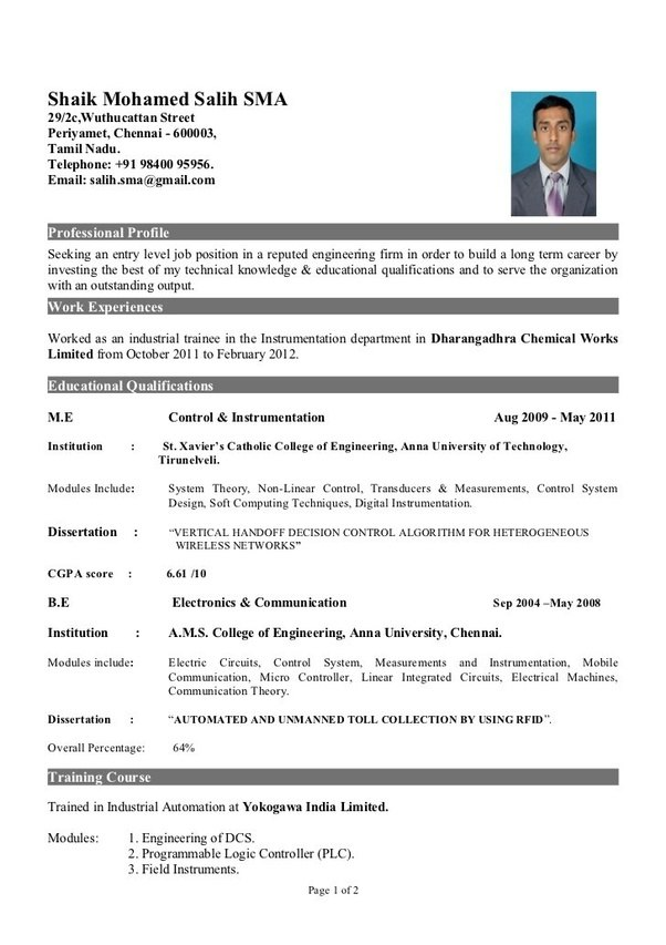 what is the best resume title for mechanical engineer fresher