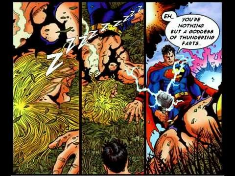 what really happened in thor vs superman during the jla avengers