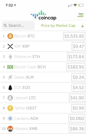 cryptocurrency percentage change