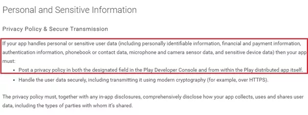 Does The Google Play Store Require You To Have A Terms Of Use And - Android app privacy policy template