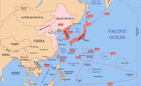 Why was japan not partitioned after world war ii quora heres a map of the japanese empire in 1939 so not counting the phillipines or former british french and dutch possessions gumiabroncs Images