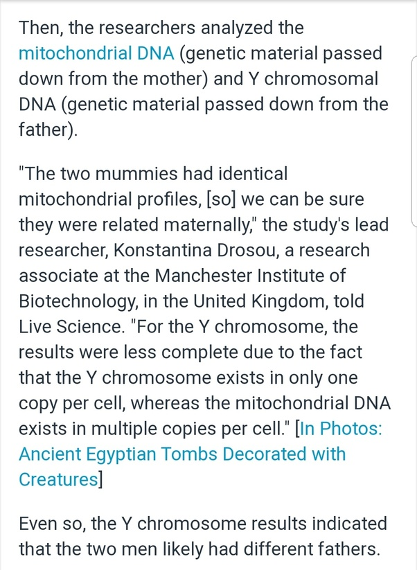 There's a new study about the Ancient Egyptians DNA to noble