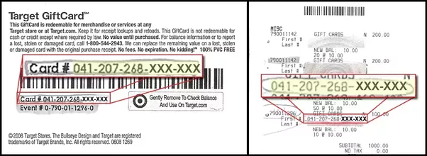 How to check your balance on a target gift card quora target gift card balance you need to scratch off the other part as well to enter the 46 digit pin negle Image collections