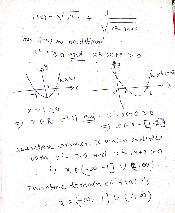 What Is The Domain Of The Given Function F(x) = Sqrt X^2 - 1 + 1/sqrt X^2-3x+2?  - Quora
