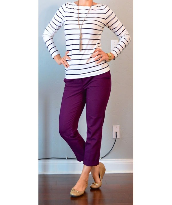 cf664e37f5 I love how the striped shirt pairs well with these darker purple fitted  pants. The stripe in the shirt matches the purple in the pants