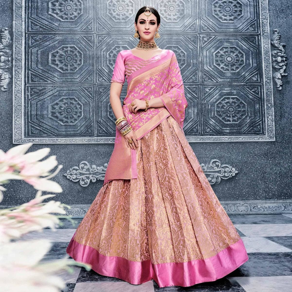 724c8aac63 One can also opt for crop tops along with Banarasi Lehenga in Delhi with quirky  accessories to give it a modern look.