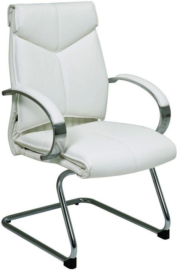 The Chrome Sled Base Is Stable, And The Chair Itself Is Durable, The White  Colored Leather Is Pleasing To The Touch.