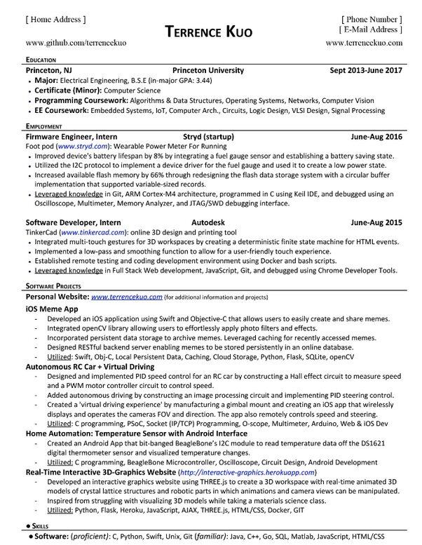 What are some examples of a computer science student's resume that