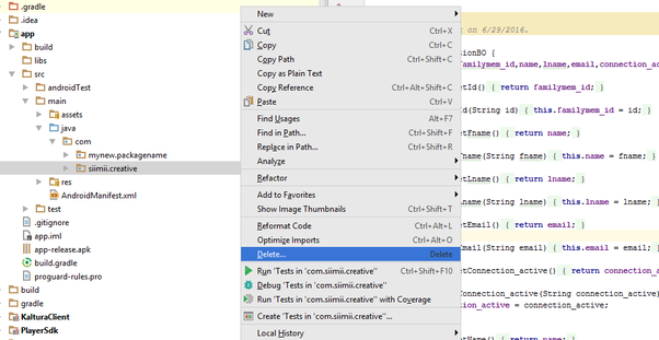How to completely change the application name and package name of an