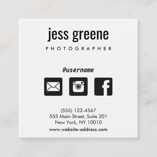 Facebook Page On A Business Card