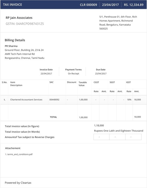 This Is A Sample For GST Invoice. In Market Different Type Of Formats Are  Also There You Can Opt Any But The Information Required Regarding CGST,  SGST, ...  Invoice For Contract Work