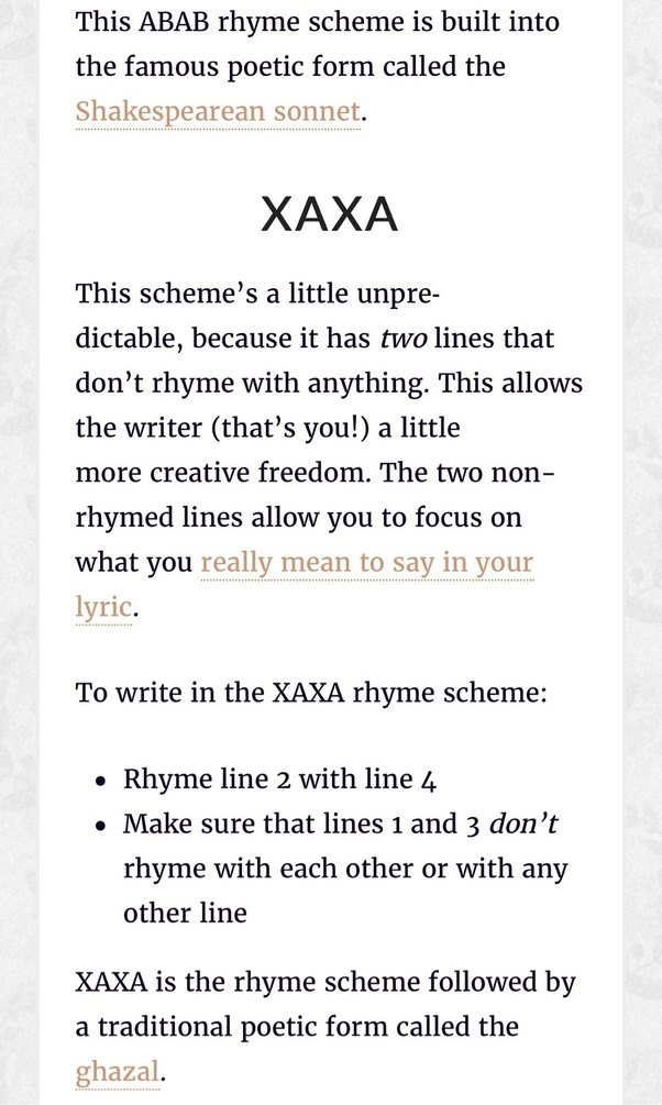 What are the seven basic rhyme schemes? Which one is most commonly ...