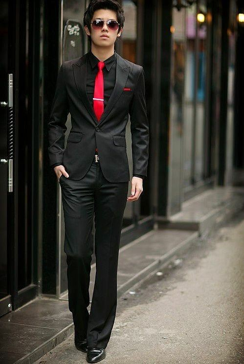 Black Suit Brown Shoes Red Tie