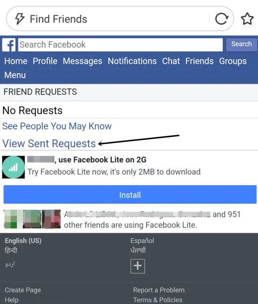Friend requests on facebook not showing up
