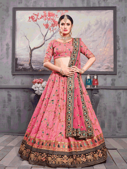 25f4087c0c14 Pink Bridal Lehenga It Is a beautiful piece of Bridal Lehenga, you just  can't ignore this one. The stunning combination of pink and golden with the  ...