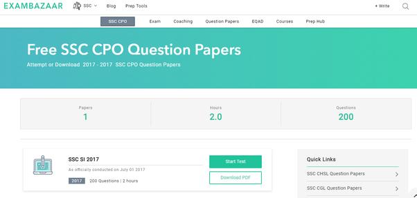 Hindi paper in cpo pdf si ssc question previous