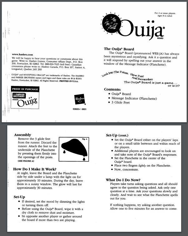 Does the instructions of the Ouija Board Game tell players