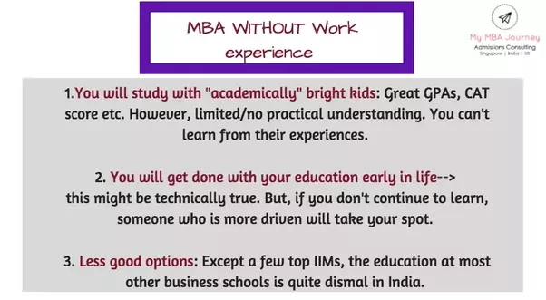 mba training course with no work experience