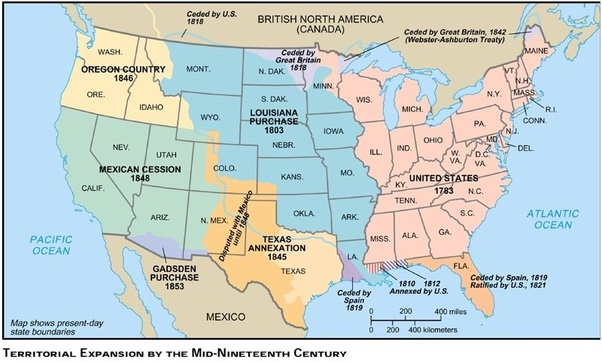 Which Us President Is Most Responsible For Establishing America As A - Us-map-1845