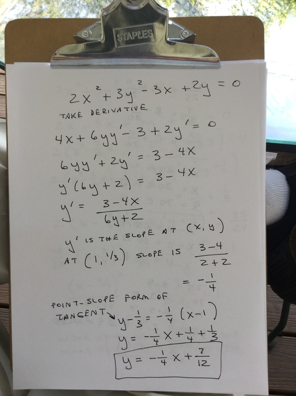 What Is The Equation Of The Equation Of The Tangent At 1 13 To