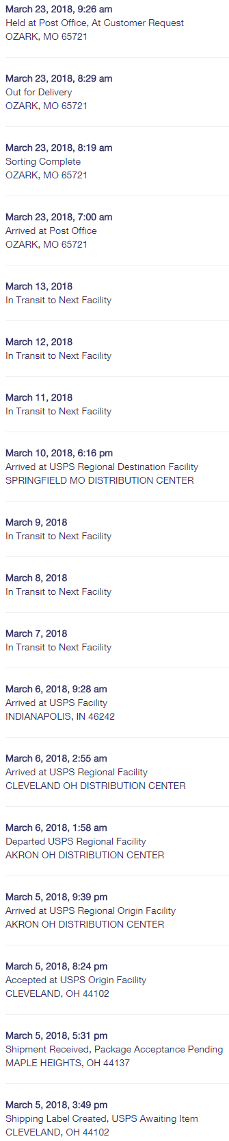 When the USPS says, 'Item currently in transit to the destination