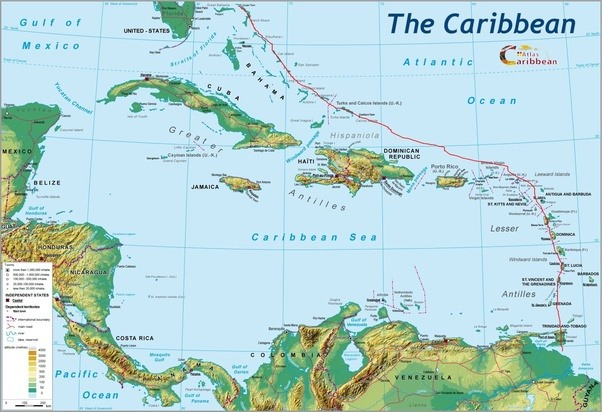 What Is The Caribbean Island Nearest To The Atlantic Ocean Quora - Map of all the seas