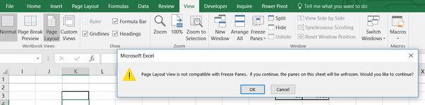 Why are the freeze panes in excel not working quora switch back to normal or page break preview viewing mode to bring back your freeze panes function ccuart Gallery