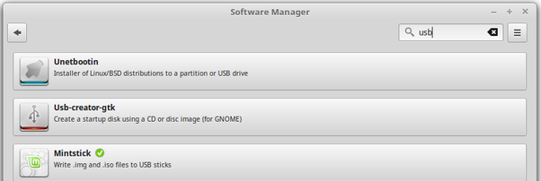 With what program can you make a bootable USB on Linux mint
