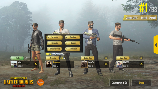 What are the signs you get at the end of the match in PUBG mobile