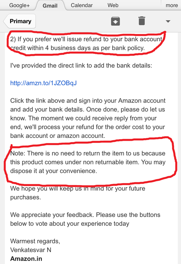 I Got The Refund As Amazon Gift Coupons As Well As The Delivered Belt  Too.They Were Ready To Refund The Entire Money In My Bank Account Too But I  Opted For ...