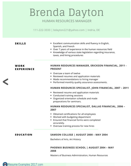 resume qualifications example 2017