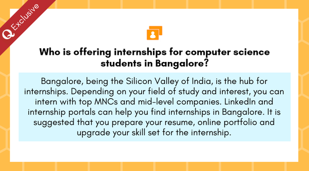 Who is offering internships for computer science students in