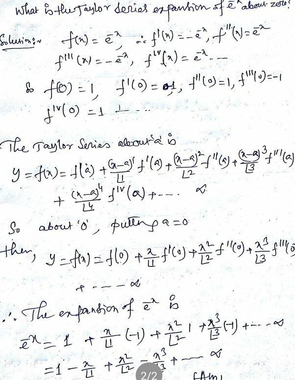 What is the Taylor series expansion of [math]e^{-x}[/math