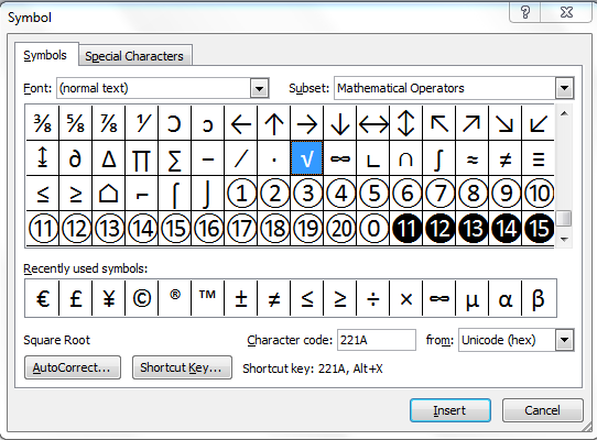 How To Insert The Square Root Symbol In Microsoft Word Quora