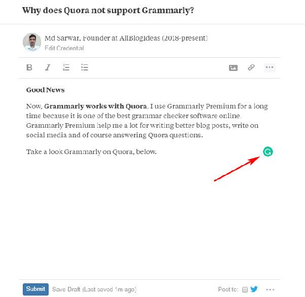 Why doesn't the Grammarly browser app work with Quora? - Quora