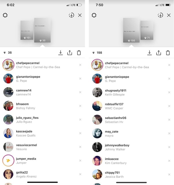 What does the order of viewers on your Instagram story mean