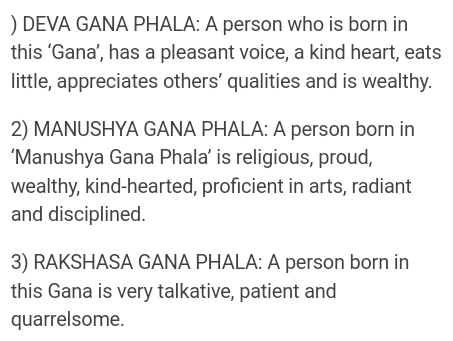 How many types of Gana are there in astrology?