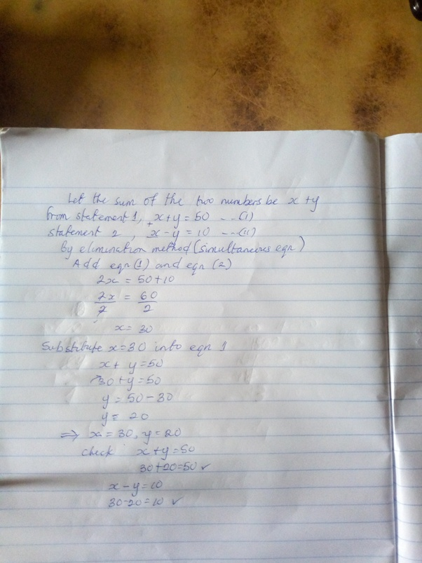 Sum Of Two Numbers Is 50 And Their Difference Is 10 Find The Numbers Quora