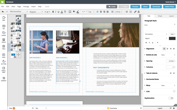 take for example lucidpress it has free ebook templates and the online design tool is super easy to use click to edit drag drop