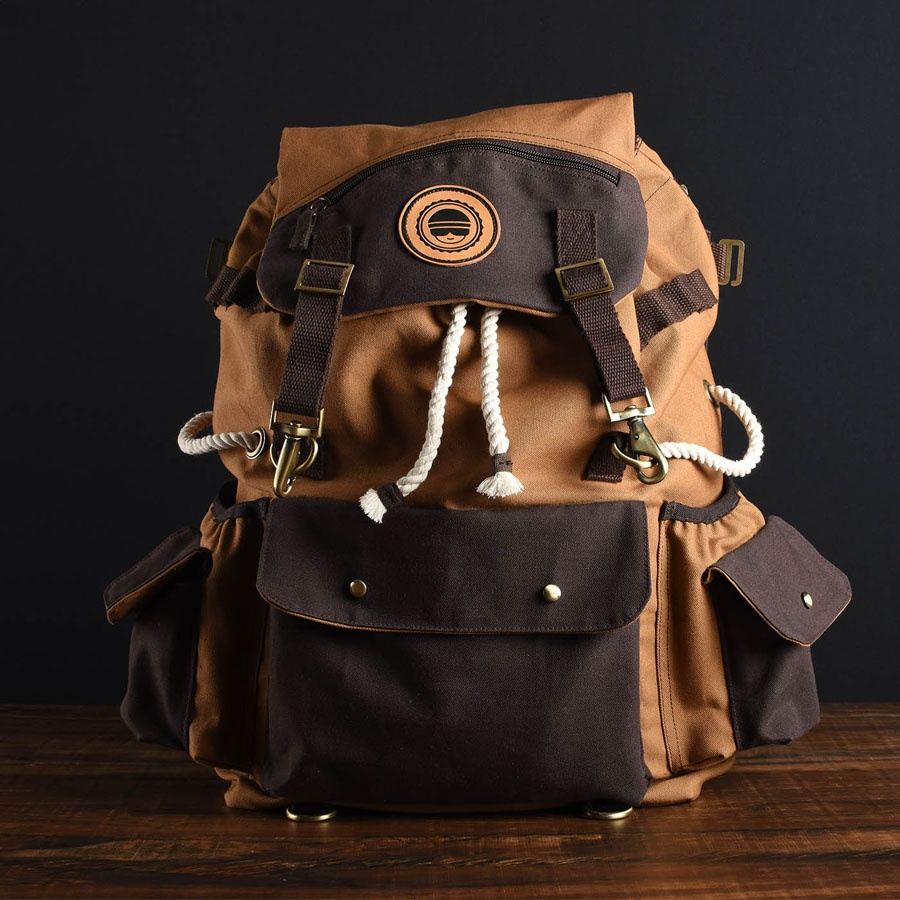 69a45c2344c This steampunk canvas backpack made of canvas, brass fittings and ropes can  be taken to the roughest places in middle earth.