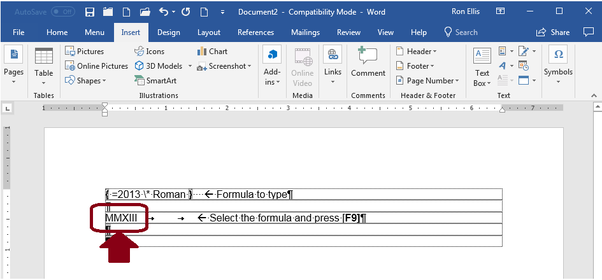 How To Write Roman Numerals In Ms Word 13 Quora